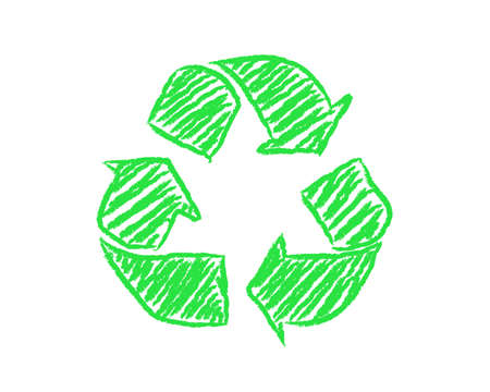 Hand drawn green recycle symbol on white background Illustration
