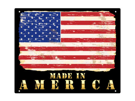 Made in America in gold with grungy American flag enamel sign