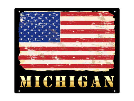 Michigan word in gold with grungy American flag enamel sign