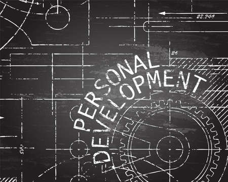 Personal development text with gear wheels hand drawn on blackboard technical drawing background