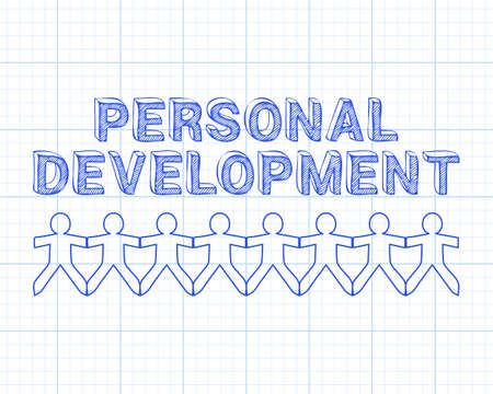 Personal development text hand drawn with paper people on graph paper background