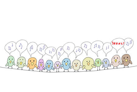 cursing: Line of cartoon birds tweeting on a line with one swearing.  Illustration