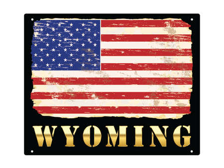 Wyoming word in gold with grungy American flag enamel sign Иллюстрация