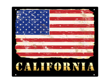 California word in gold with grungy American flag enamel sign Çizim