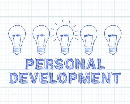 Hand drawn personal development sign and light bulb on graph paper background Illustration