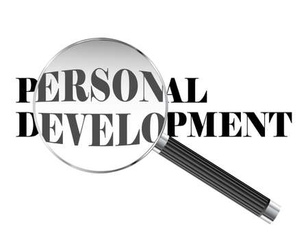 Personal development text viewed under magnifying glass illustration
