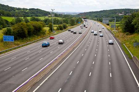 M1 four lane smart motorway in West Yorkshire 스톡 콘텐츠