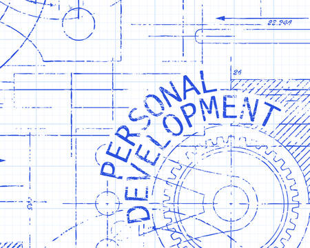 Personal development text with gear wheels hand drawn on graph paper technical drawing background Illustration