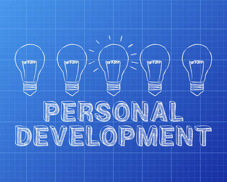 Hand drawn personal development sign and light bulb on blueprint background Illustration