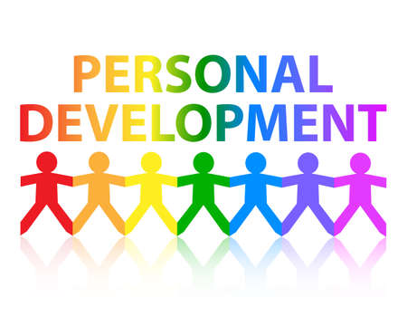 Personal development cut out paper people chain in rainbow colors Illustration