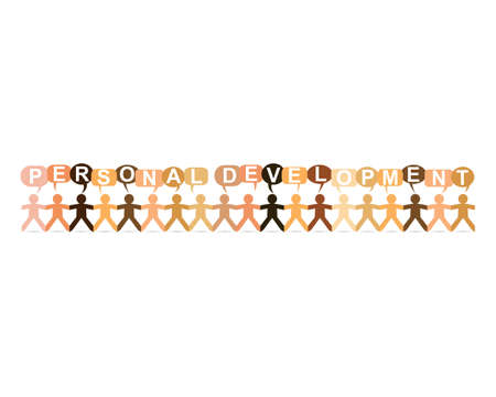 Personal development word in speech bubbles with cut out paper people chain in different skin tone colors