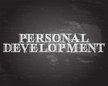 Personal development text hand drawn on blackboard