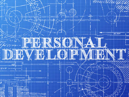 potential: Personal development sign and gear wheels technical drawing on blueprint