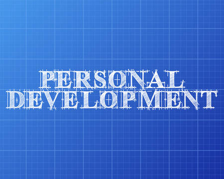potential: Personal development text hand drawn on blueprint background
