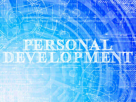 Personal development word on high tech blueprint and data background