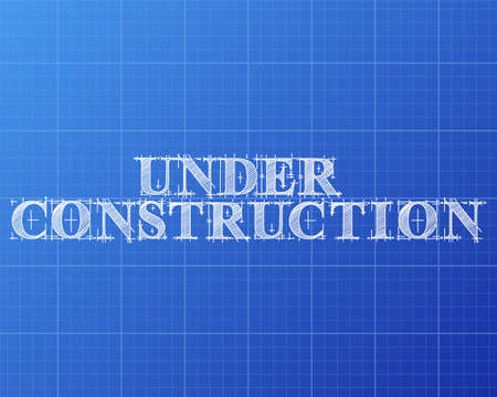 Under Construction Text Hand Drawn On Blueprint Background Stock Vector    87281199