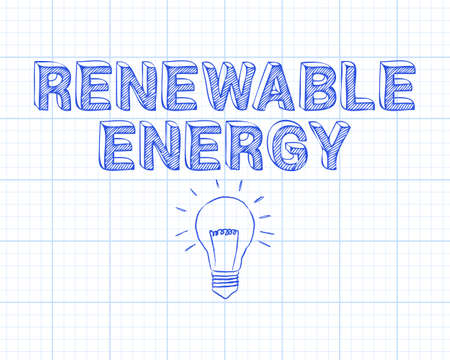 Hand drawn renewable energy sign and light bulb on graph paper background Illustration