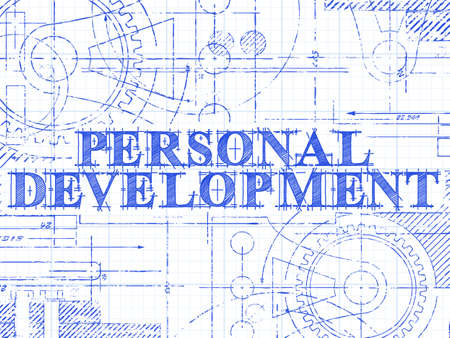 Personal development sign and gear wheels technical drawing on graph paper background Иллюстрация
