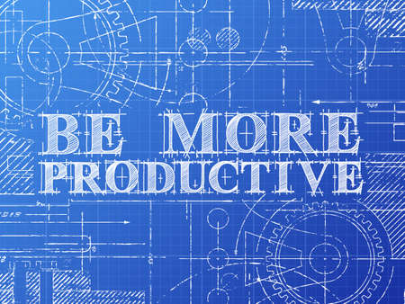Be more productive text with gear wheels hand drawn on blueprint technical drawing background