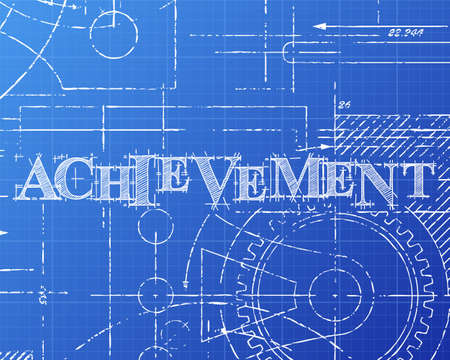 Achievement sign and gear wheels technical drawing on blueprint background