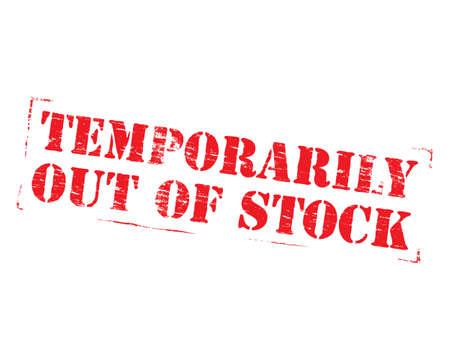 Temporairement en rupture de stock signe de timbre en caoutchouc grungy