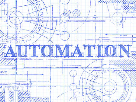Automation text with gear wheels hand drawn on graph paper technical. 向量圖像