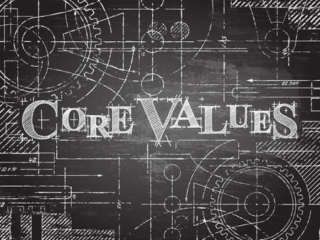 Core values text with gear wheels hand drawn on blackboard technical drawing background Illustration