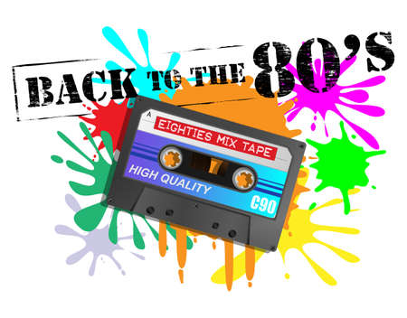Detailed retro eighties mix tape audio cassette on back to the eighties grunge background