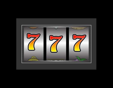 Slot machine showing three number seven symbols