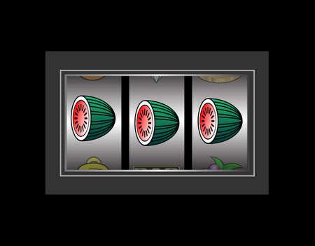Slot machine showing three melon symbols
