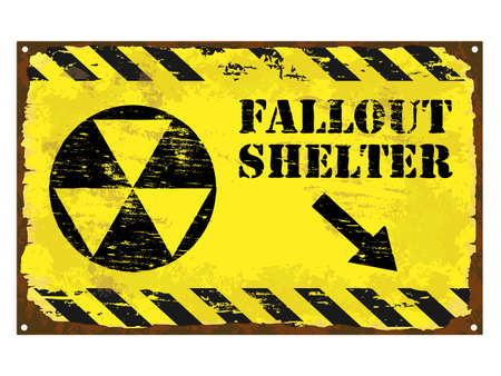 Grungy rusted enamel fallout shelter symbol sign