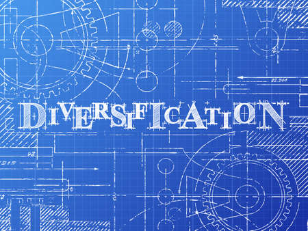Diversification text with gear wheels hand drawn on blueprint technical drawing background