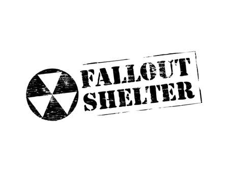 Fallout shelter grungy rubber stamp symbol