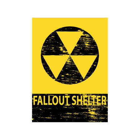 Grungy fallout shelter symbol sign  Illustration