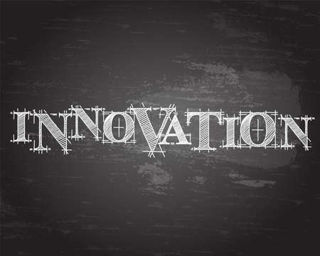 Innovation text hand drawn on blackboard background  Ilustracja