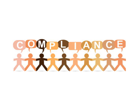 Compliance word in speech bubbles with cut out paper people chain in different skin tone colors  Illustration