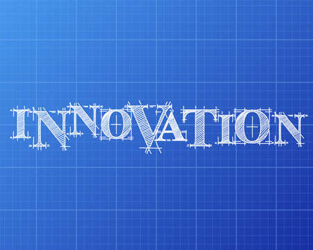 Innovation text hand drawn on blueprint background  Ilustracja
