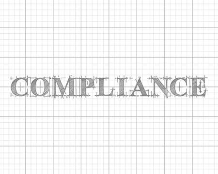 Compliance text hand drawn on graph paper background