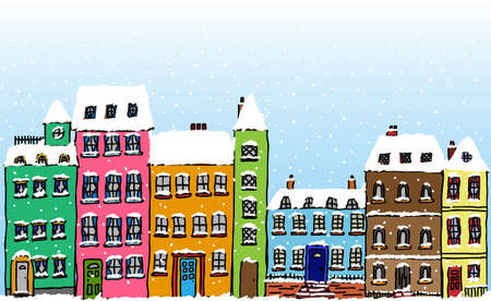Cartoon style street of old fashioned town houses covered in snow  Illustration
