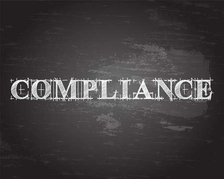 Compliance text hand drawn on blackboard background