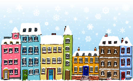 Cartoon style street of old fashioned town houses covered in snow with snowflakes falling