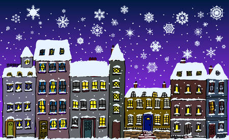 Cartoon style street of old fashioned town houses covered in snow with snowflakes falling at night  Illustration