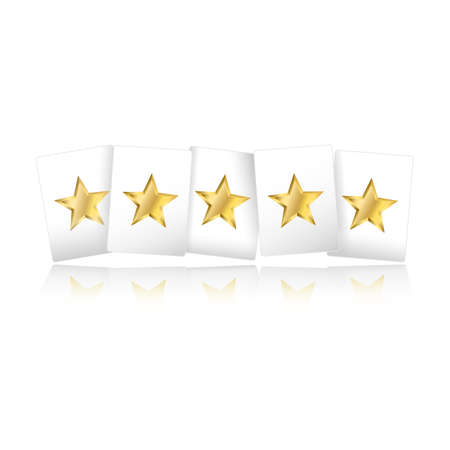 Five gold stars on playing card shapes with reflection on white background