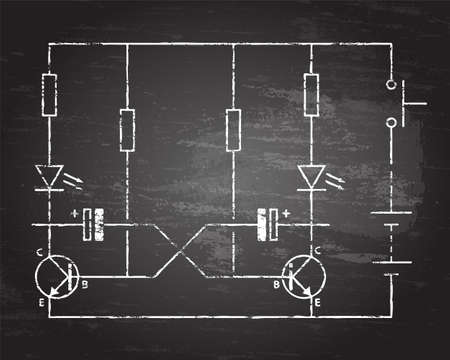 Simple flip flop circuit hand drawn on blackboard background.  Иллюстрация