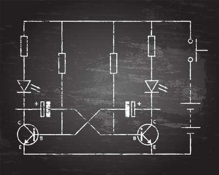 Simple flip flop circuit hand drawn on blackboard background.  Illustration