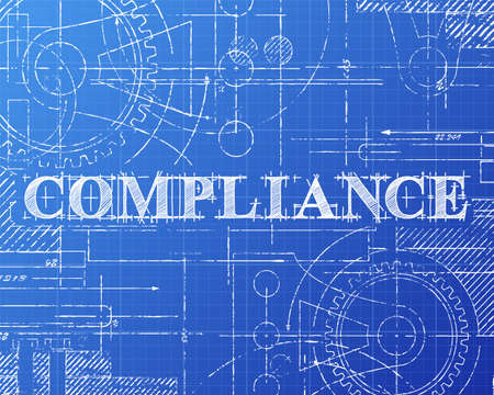 Compliance text hand drawn on blueprint background Vectores