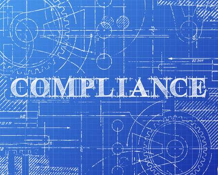 Compliance text hand drawn on blueprint background Stock Illustratie
