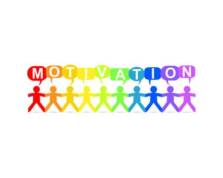 Motivation word in speech bubbles with cut out paper people chain in rainbow colors Vectores