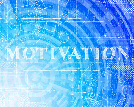 Motivation word on high tech blueprint and data background  Illustration