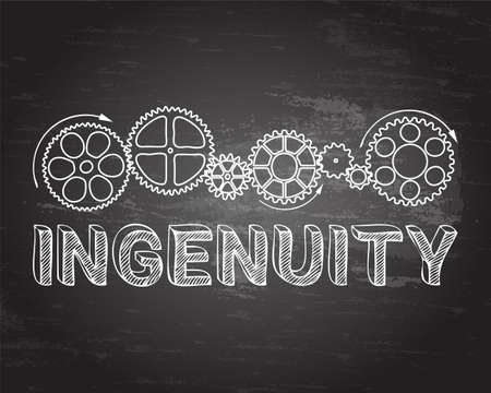 Ingenuity text with gear wheels hand drawn on blackboard background